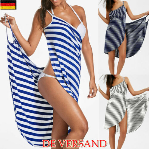 Damen Gestreift Bademode Bikini Cover Up Strandkleid Wickeltuch Sommer Minikleid