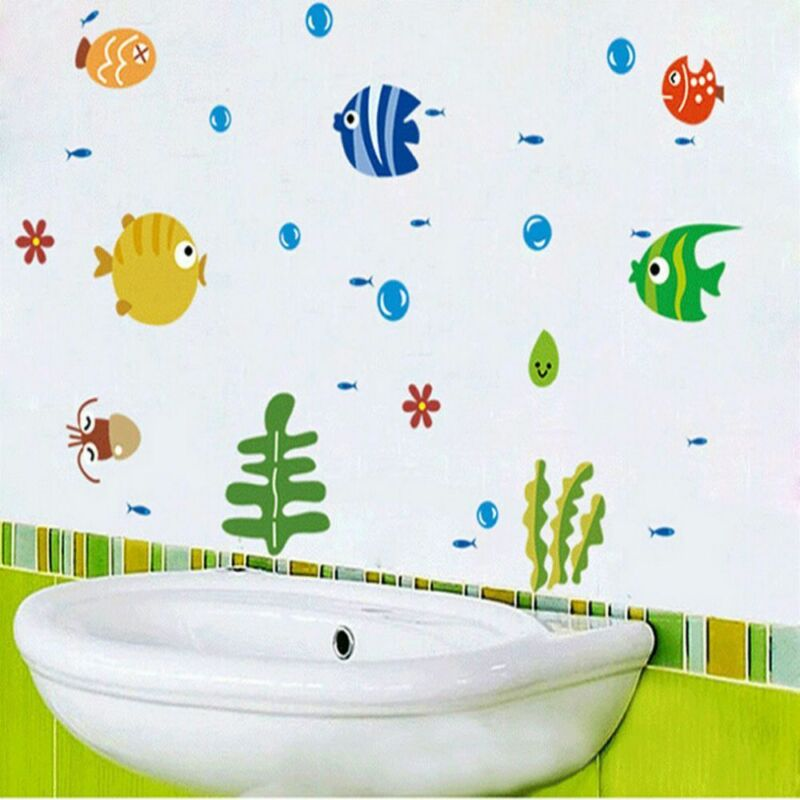 Home Decoration - Child's room baby room cartoon decal fish home decoration wall sticker