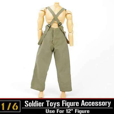 "1/6 Dragon DML Toy WWII US Tank Crews Bib Suspenders Pants Trousers F 12"" Figure"