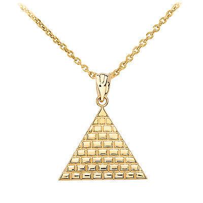 Fine 10k Yellow Gold Egyptian Pyramid Geometric Triangle Pendant Necklace Geometric Yellow Necklace