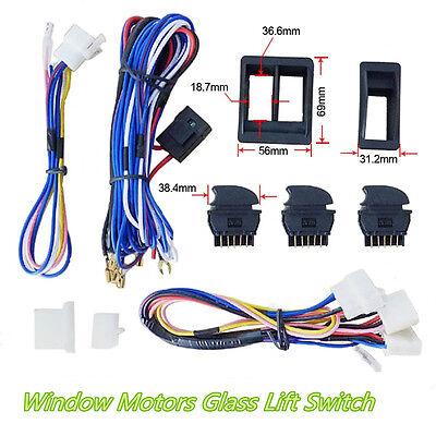 DC12V Car 2-Door Window Glass Regulator Lift Green LED Switch Harness Cable (Omega 3d Glasses)
