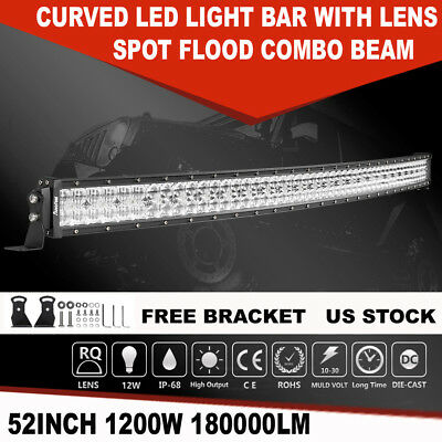 "Curved 52"" inch 1200W LED Light Bar Combo Driving Lamp For Ford Dodge 50"" 54"" 7D"