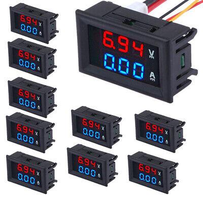10x Dc 100v 10a Led Dual Digital Voltmeter Ammeter Bluered Volt Amp Meter Gauge