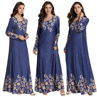 Women Vintage Maxi Dress Abaya Print Floral Kaftan Jilbab Casual Muslim Robes