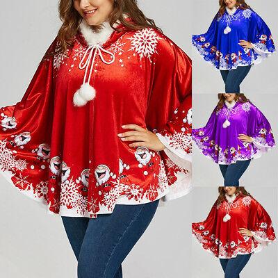 ta Claus Print Cloak Matching Venonat Hooded Cape Jacket (Santa Claus Cape)