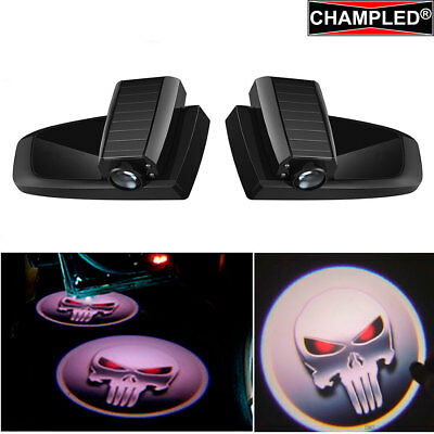 Champled Skull Punisher Car Led Door Projector Shadow Lights Emblem Wireless