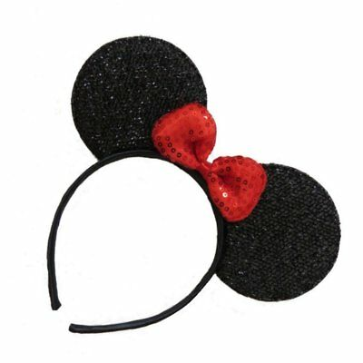 Black and Red Sequin Sparkly Minnie Mouse Ears Fancy Dress Hen Night Party