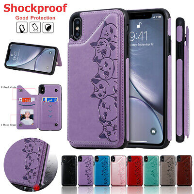 For iPhone 11 Pro Max XS XR X 7 8 Plus 6S Women Leather Card Holder Wallet Case
