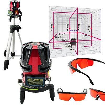 Good Set 8 Line Rotary Laser Beam Self Leveling Interior Exterior Kit Tripod