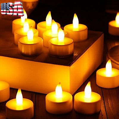 24PC Votive CFlameless LED Tealight Flickering Tea Light Wedding Candles Battery