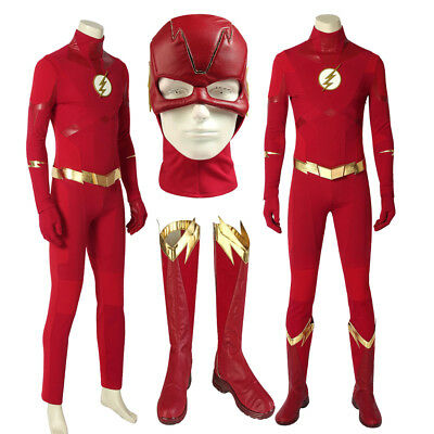 Cheap Made Halloween Costumes (The Flash Season 5 Barry Allen Cosplay Superhero Costume Custom Made Halloween)