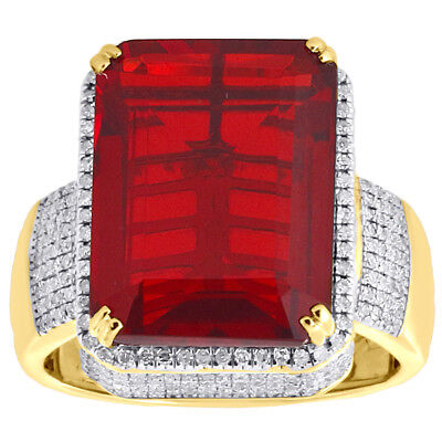 10k Yellow Gold Mens Diamond 3D Gemstone Center Fashion Pinky Ring Pave 1 Ct.