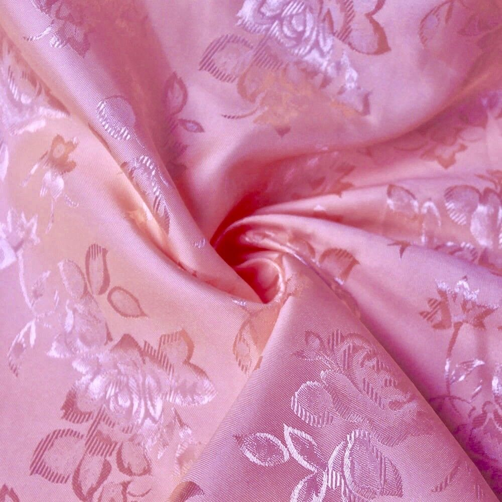 34 Colors Kayla Floral Jacquard Brocade Satin Fabric by the Yard - 10004 Pink