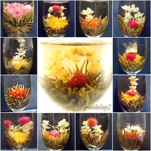 New-6-BLOOMING-FLOWER-FLOWERING-JASMINE-GREEN-CHINESE-TEA-BALL-HANDMADE-BAG