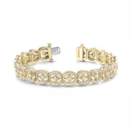 4 Carat Vs White Round Diamond Bracelet Vintage Style14k Yg For Women