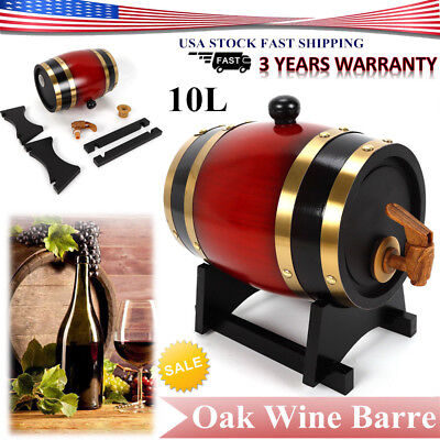 10 Liter Oak Barrel for Storage Whiskey Spirits Port Liquor Wine Barrels Keg NEW for sale  Rowland Heights