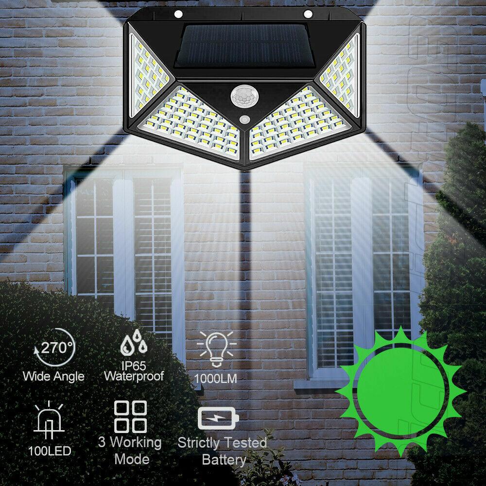 100 LED Solar Garden PIR Motion Sensor Light Outdoor Yard Waterproof Security Home & Garden