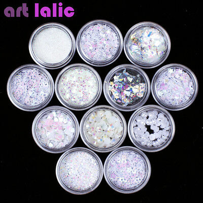 Used, 12 Pots White 3D Nail Art Sequins Glitter Shapes Foil Pearl Gems Beads DIY for sale  China