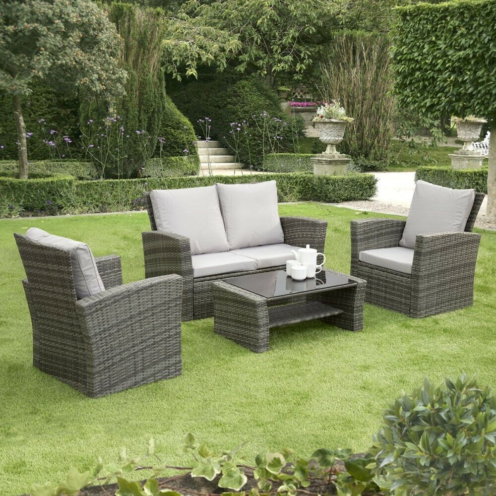 Garden Furniture - GSD Rattan Garden Furniture 4 Piece Patio Set Table Chairs Grey Black or Brown