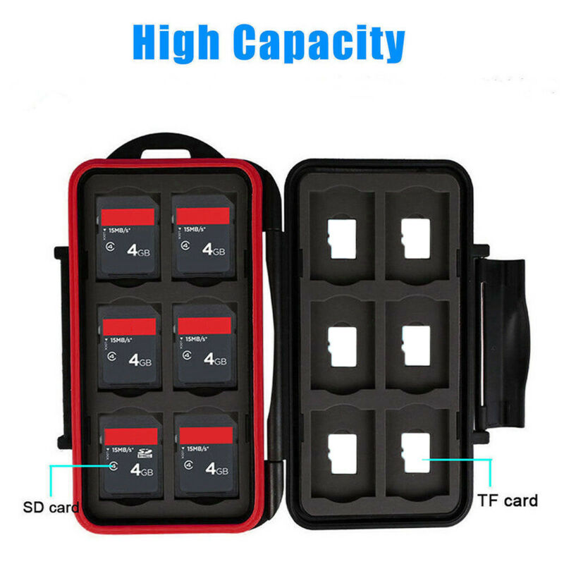 Waterproof Memory Card Case Hard Protector Box Storage Holder Fits SD/TF Cards