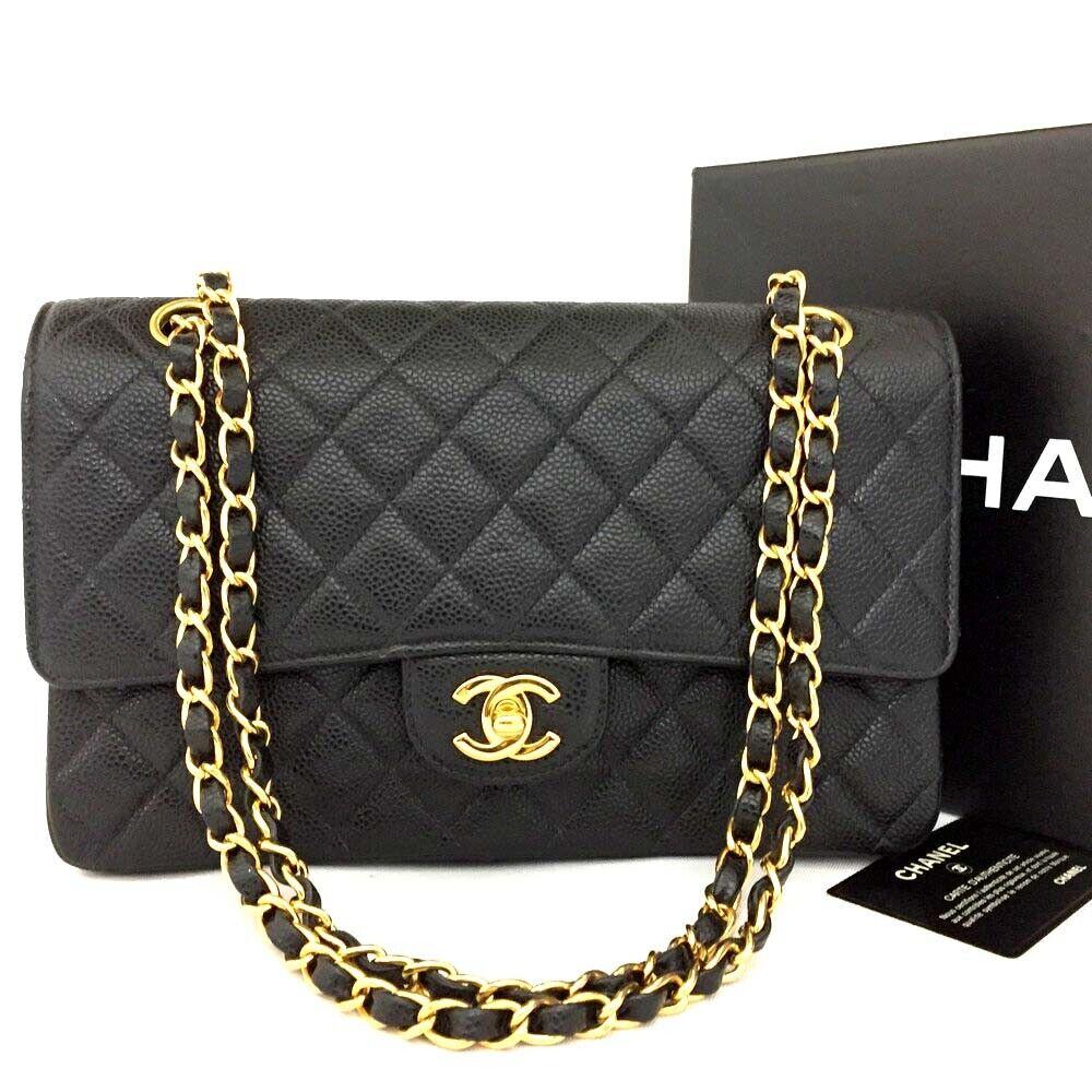 CHANEL Double Flap 25 Quilted CC Logo Caviar Skin w/Chain Shoulder Bag Black/u60