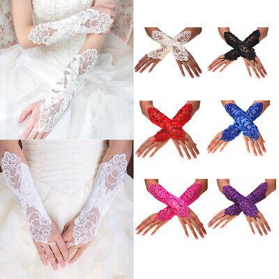 Women Lady Wedding Lace Satin Short Bride Gloves Fingerless Evening Party Dress - Short Satin Gloves