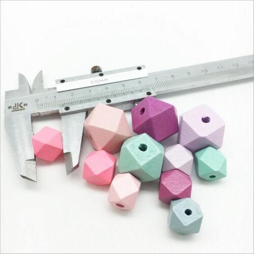 Gemischte Holzperlen Querschnitte geometrische Perlen Handwerk Schmuck 15mm DIY