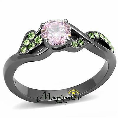 Rose & Green Round Cut Zirconia Gray Stainless Steel Fashion Ring Womens Sz 5-10