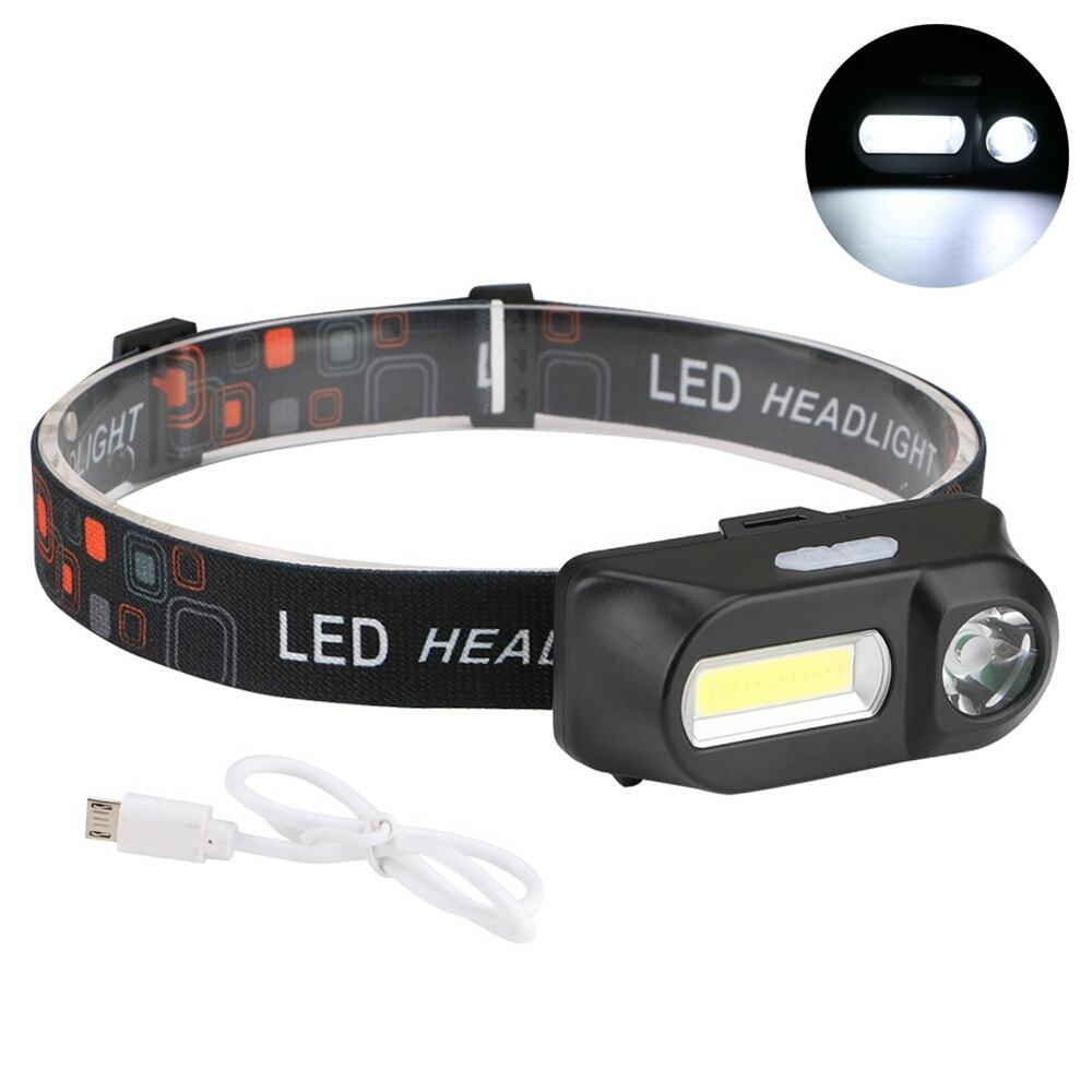 Multifunction USB Rechargeable LED Headlight COB Super Bright Headlamps Camping & Hiking