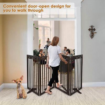 Dog Gate Pet Fence Baby Playpen Folding Wood Barrier Free St