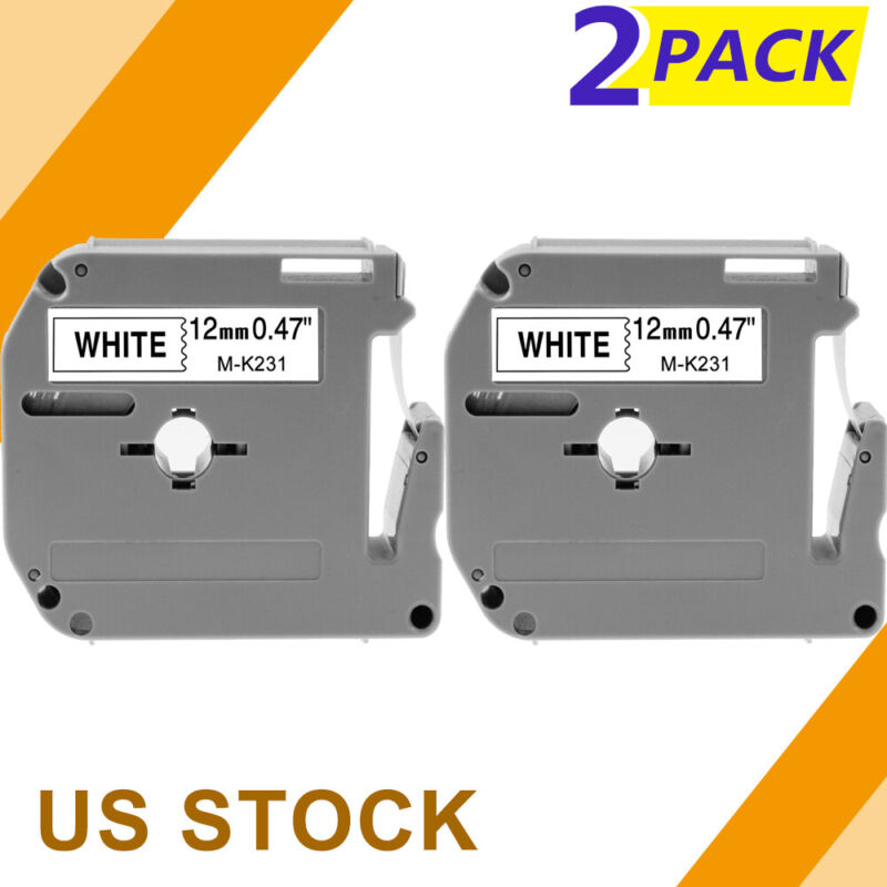 M-K231 MK-231 2 PK Label Tape Compatible with Brother P-touch Label Maker 12mm.