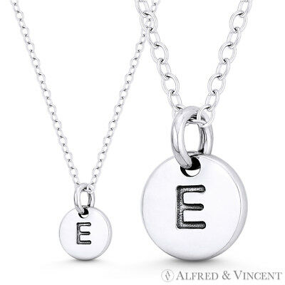 """Initial Letter """"E"""" 11mmx8mm Tiny Round Disc .925 Sterling Silver Charm / Pendant"""