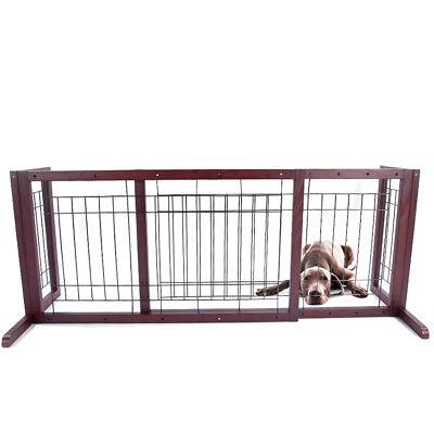 Wood Dog Gate Playpen Adjustable Indoor Solid Construction Pet Fence Free Stand