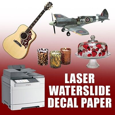 Waterslide Decal Paper Premium Laser 10 Sheets Mixed 5 White 5 Clear