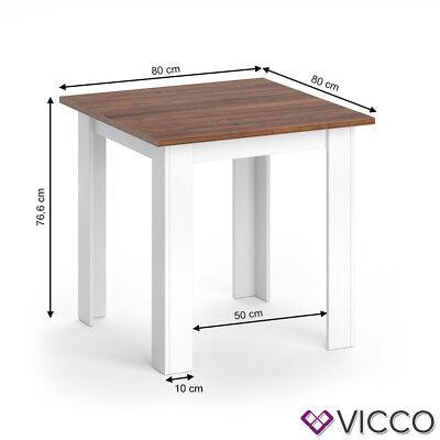 VICCO Esstisch KARLOS Esszimmertisch 80cm Weiß Nussbaum Wohnzimmer Küchentisch