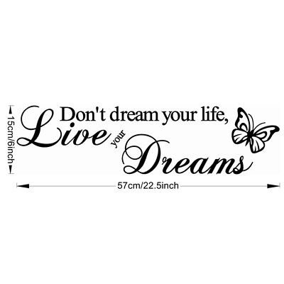 Decal Clean Art Wall Sticker Word Live Your Dream Butterfly Quote Room Decor