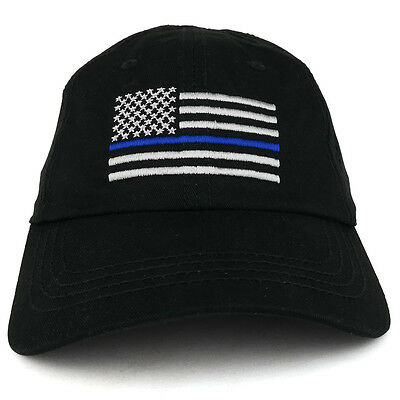 Thin Blue Line USA Flag Embroidered Low Profile Unstructured Mesh Fabric Cap  Cloth Low Profile Cap