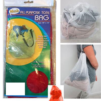 Mesh Tote Net Shopping Beach Gym Sports Bag Drawstring Purse
