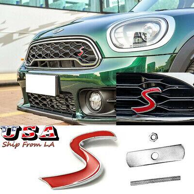 Red Mini S Logo Badge Front Grille Emblem For Mini Cooper R50 R52 R53 R56 R57