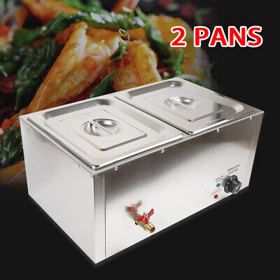 2-pan Food Warmer Steam Table Steamer Electric Buffet Countertop Portable 850 W