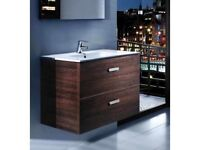 Roca Victoria 600mm Two Drawer Vanity Unit & Basin (Wenge Wood) Was £515 Now £239