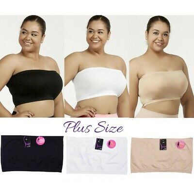 3 SET PLUS SIZE BASIC PLAIN SEAMLESS  SPORTS  BANDEAU TOP NO BRA PAD