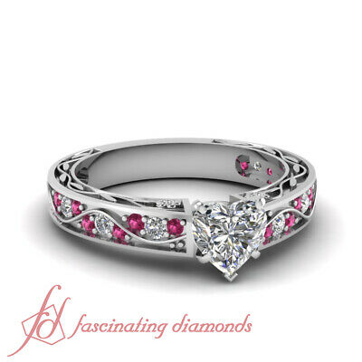 1.25 Ct Pink Sapphire And Heart Shaped Diamond Engagement Rings For Women GIA