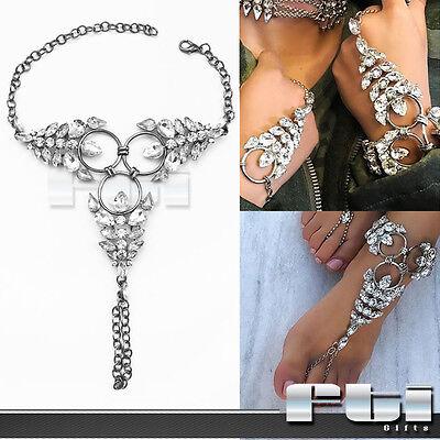 Crystal Rhinestone Slave Finger Ring Chain Wrist Anklet Bracelet Barefoot Sandal