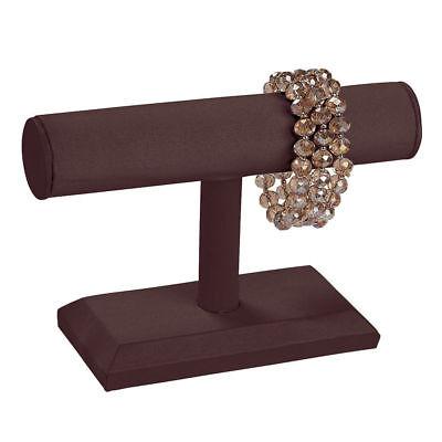 """4 Single Tier T-Bar Bracelet Displays Brown Satin Jewelry Showcase  7 ¼"""" x 5"""""""