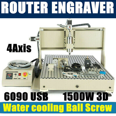 Usb 4 Axis Cnc 6090t Router Engraver Carving Machine Wood Milling 1500w Er11 Vfd
