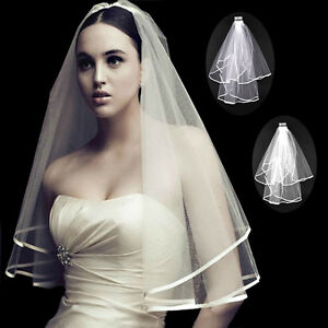 New-2T-white-or-ivory-wedding-bridal-with-Veil-Satin-Edge-comb-Elbow