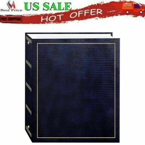 Photo Album Magnetic Pages Self Adhesive Stick 3-Ring Binding Navy Blue 50 Sheet
