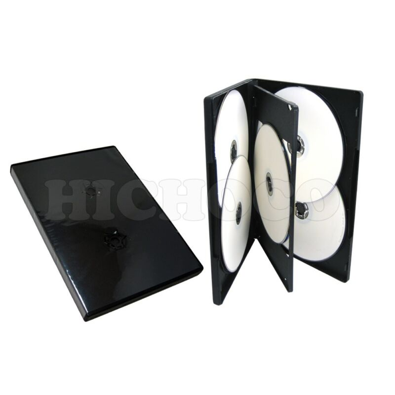 100 ct Standard 14mm Multi Hold 6 Disc Six CD DVD Black Case Movie Box Wholesale