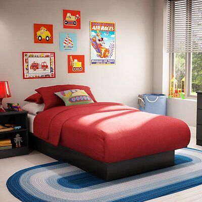 South Shore Step One Twin Platform Bed -, Black, Twin